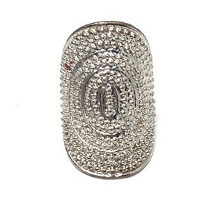 Shield Wrap Textured Silver Tone Ring Size 7